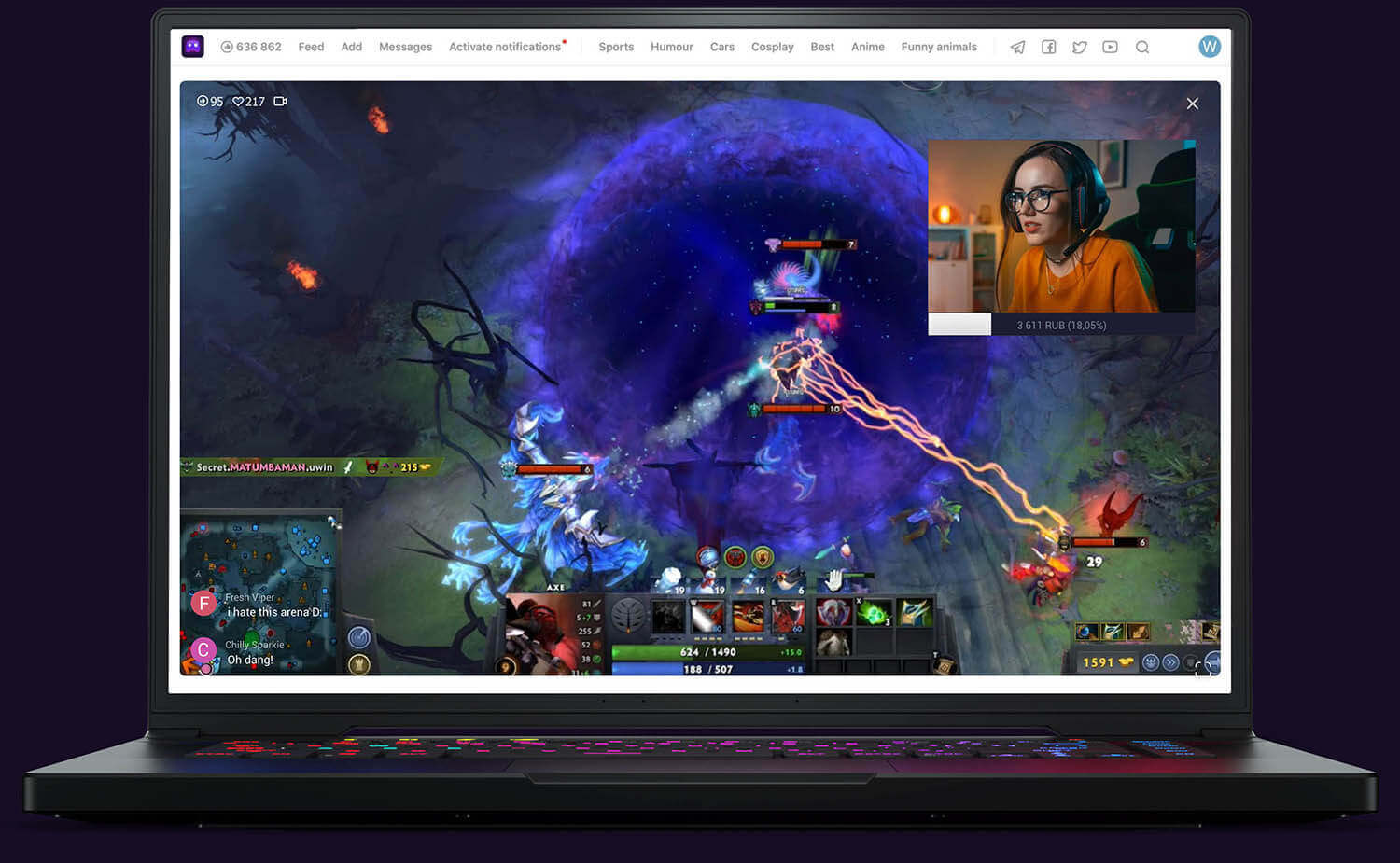 Girl streams Dota 2 em U LIVE Games