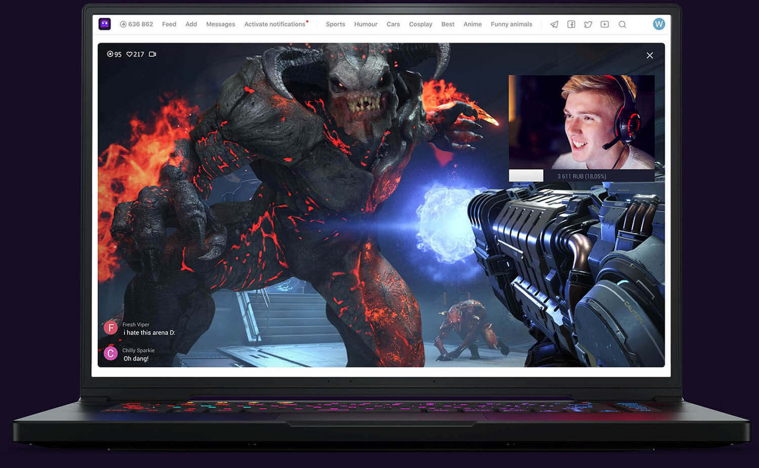 Man stream Doom Eternal trên U LIVE Games