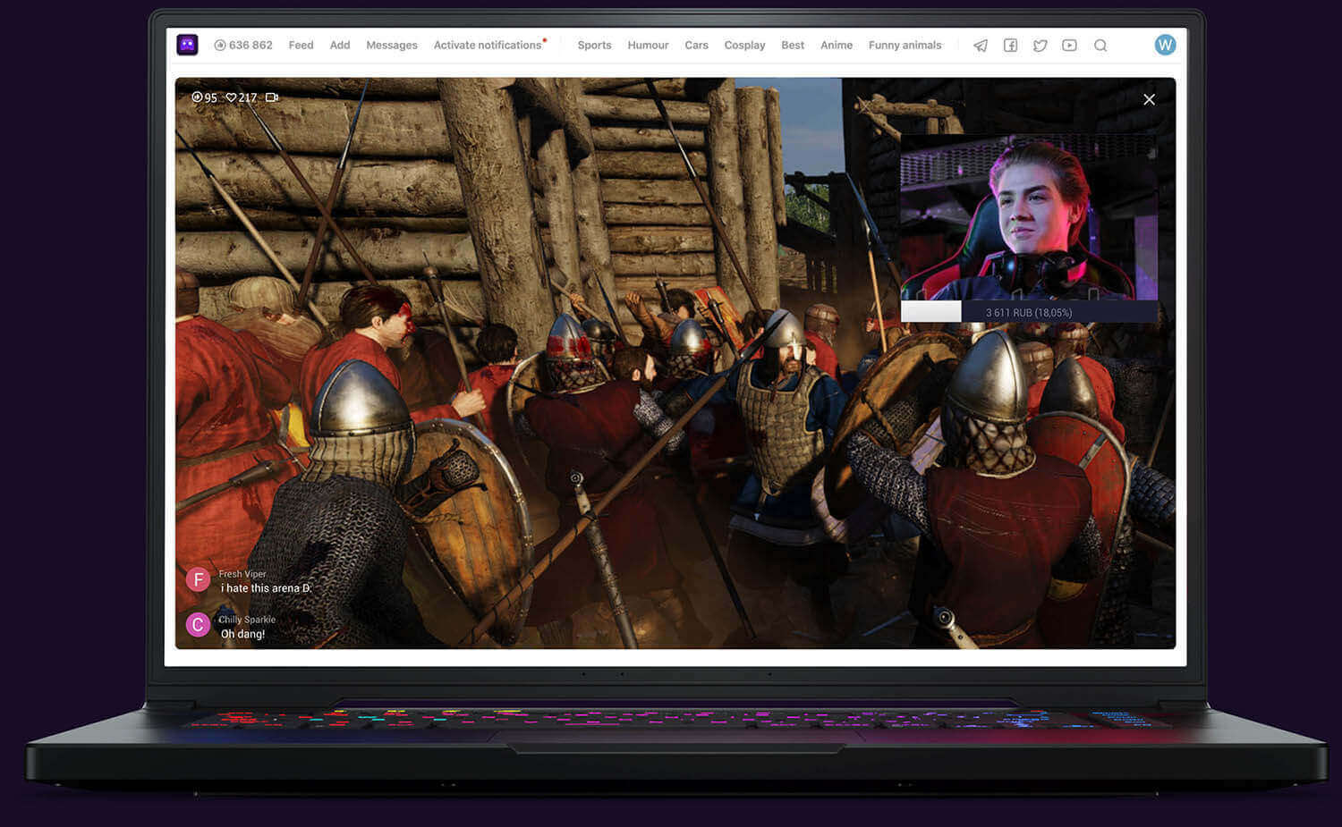 Mount & Blade 2 Bannerlord gamer streams on U LIVE Games platform
